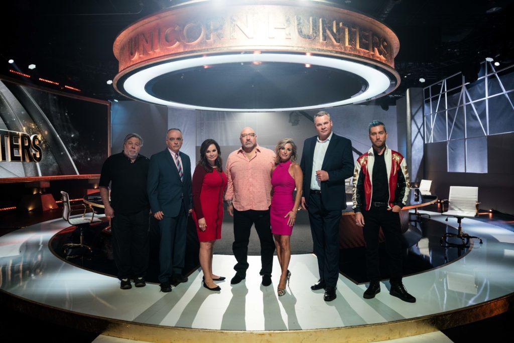 Unicorn Hunters set with Alex Konanykhin, Moe Vela, Lance Bass, Silvina Moschini, Steve Wozniak, Rosie Rios and Scott Livingston
